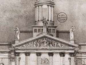 Detail van het timpaan van het oude stadhuis in Rotterdam (Universiteitsbibliotheek Leiden)
