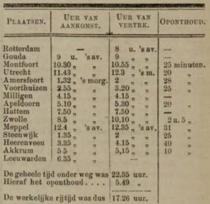 Reisschema Kiderlen (Leeuwarder Courant)